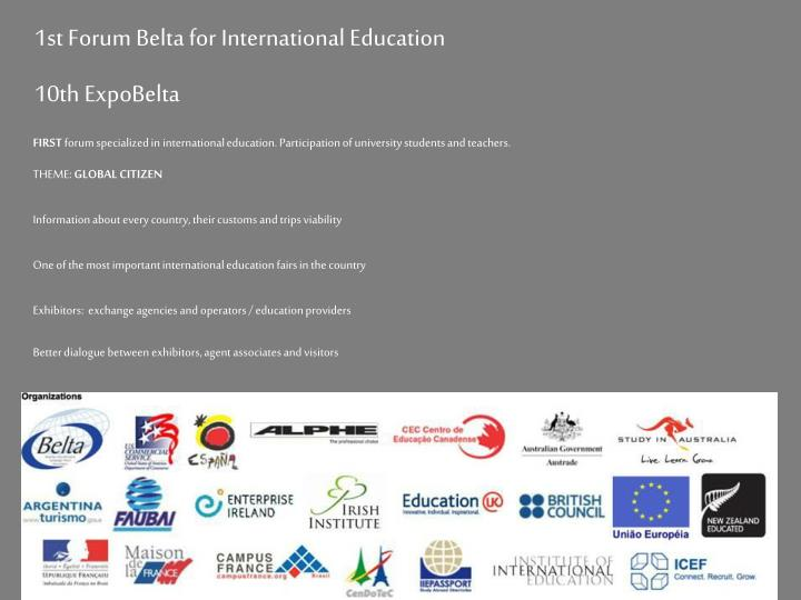 1st Forum Belta for International Education