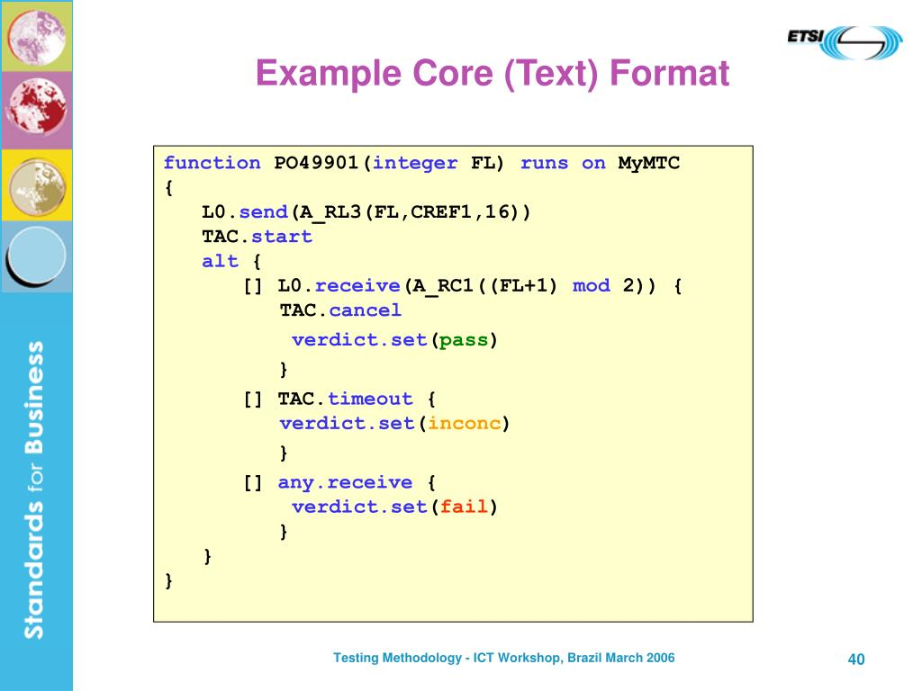 Example Core (Text) Format