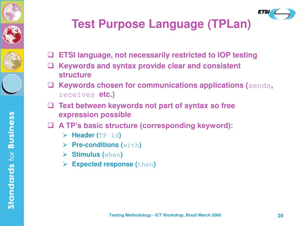 Test Purpose Language (TPLan)
