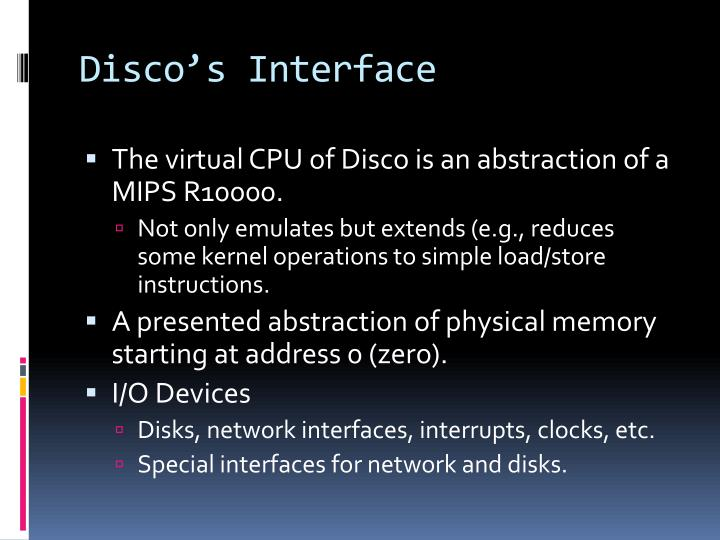Disco's Interface