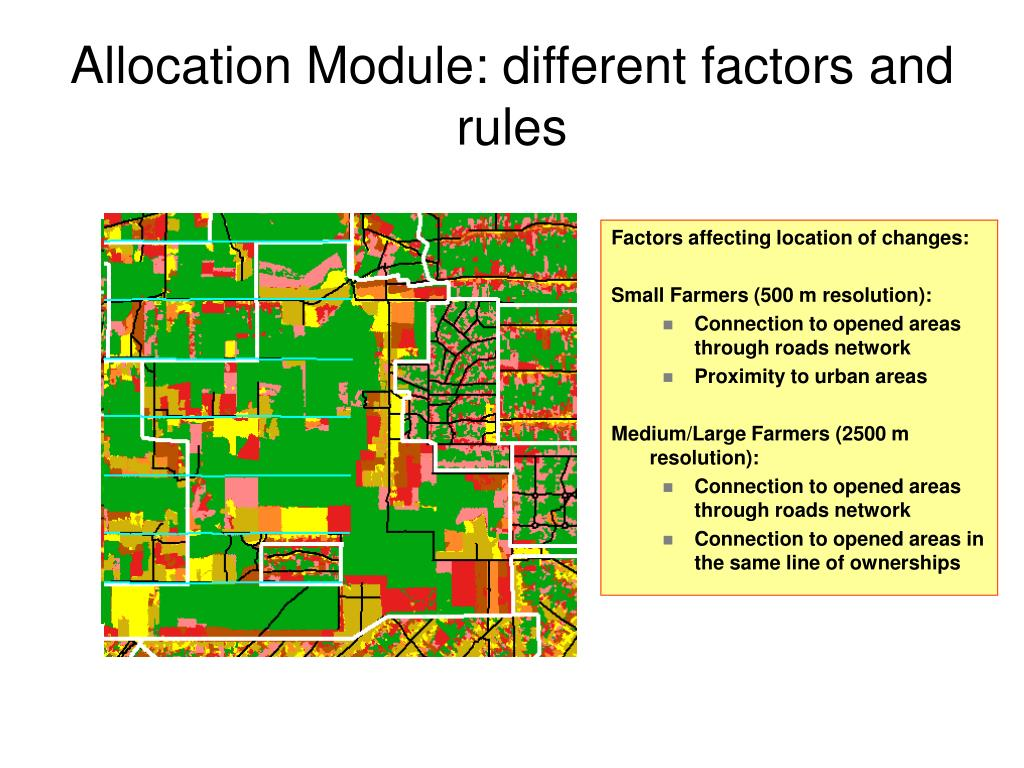 Allocation Module: different factors and