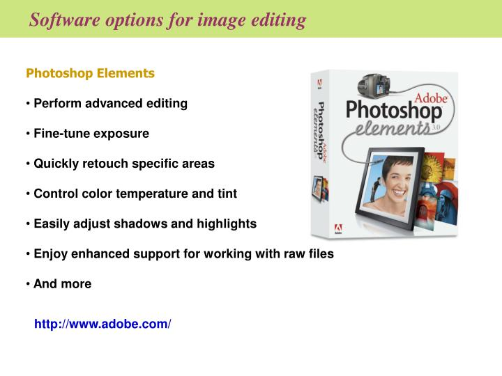 Software options for image editing