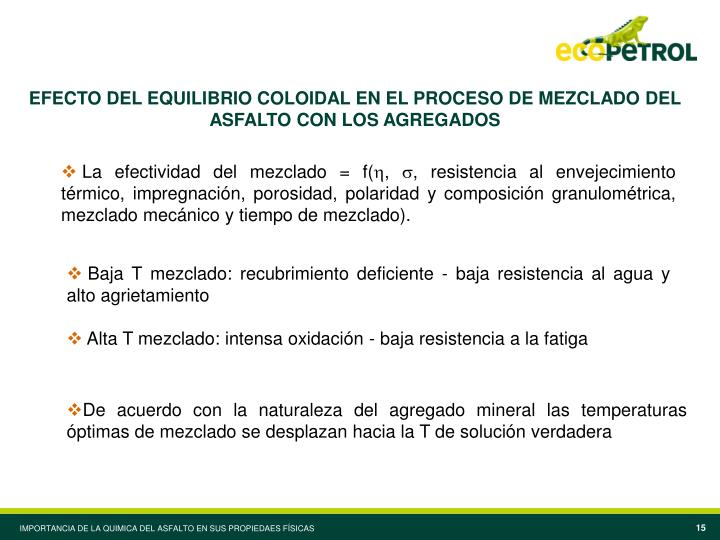 EFECTO DEL EQUILIBRIO COLOIDAL EN EL PROCESO DE MEZCLADO DEL ASFALTO CON LOS AGREGADOS