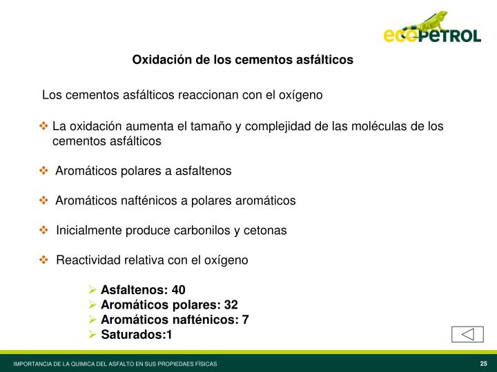 Oxidación de los cementos asfálticos