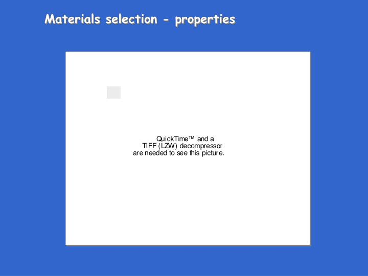 Materials selection - properties