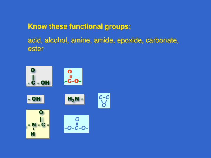 Know these functional groups:
