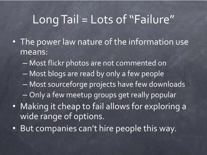 "Long Tail = Lots of ""Failure"""