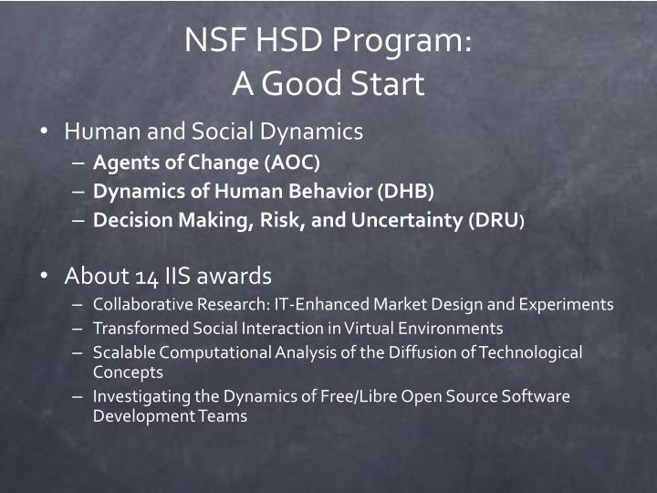 NSF HSD Program: