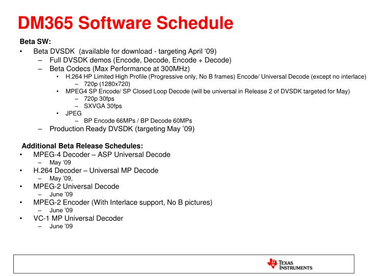DM365 Software Schedule
