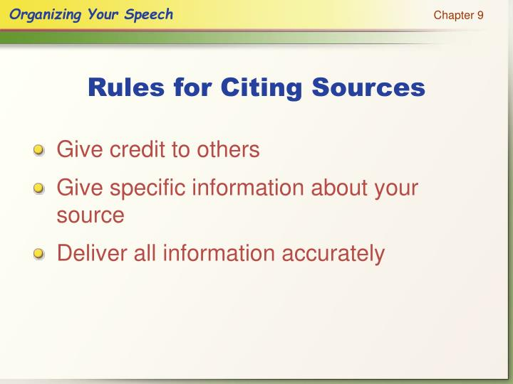 Rules for Citing Sources