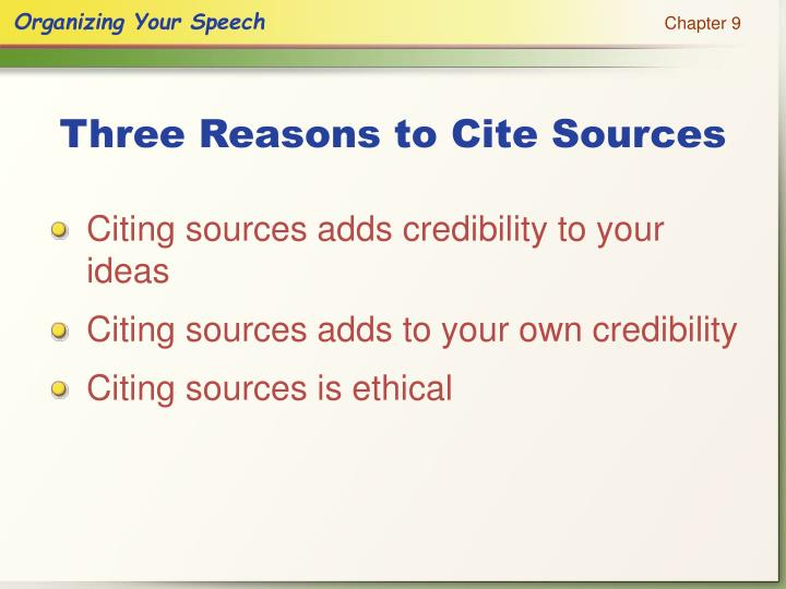 Three Reasons to Cite Sources