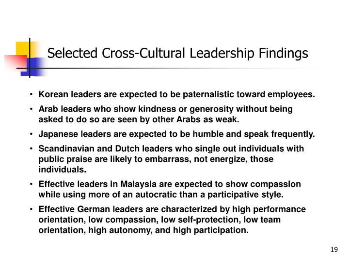 Selected Cross-Cultural Leadership Findings