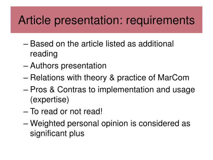 Article presentation: requirements