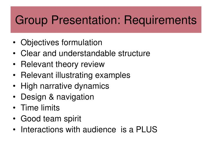 Group Presentation: Requirements