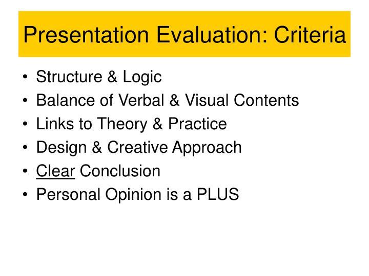 Presentation Evaluation: Criteria