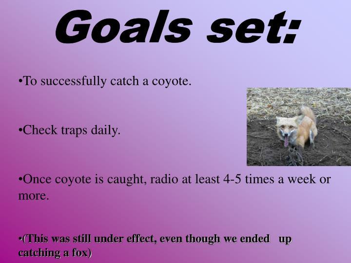 Goals set: