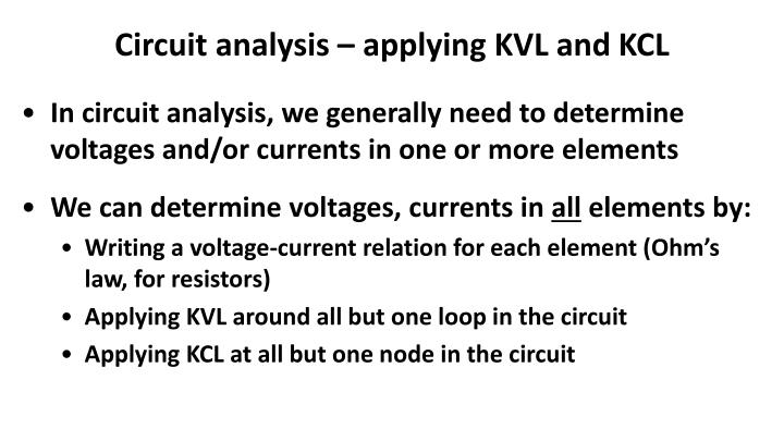 Circuit analysis – applying KVL and KCL