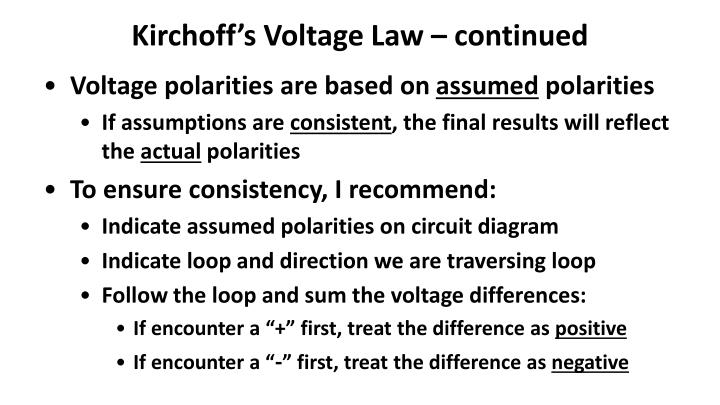 Kirchoff's Voltage Law – continued
