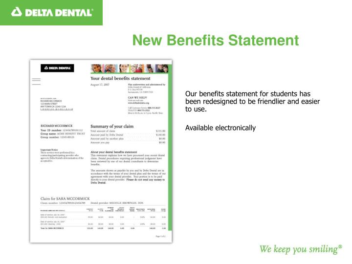 New Benefits Statement