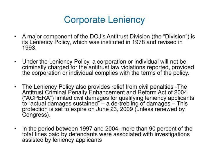 Corporate Leniency