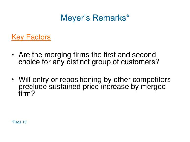 Meyer's Remarks*