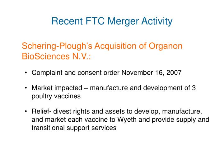 Recent FTC Merger Activity