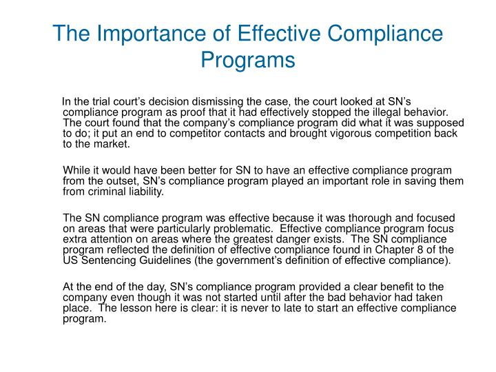 The Importance of Effective Compliance Programs