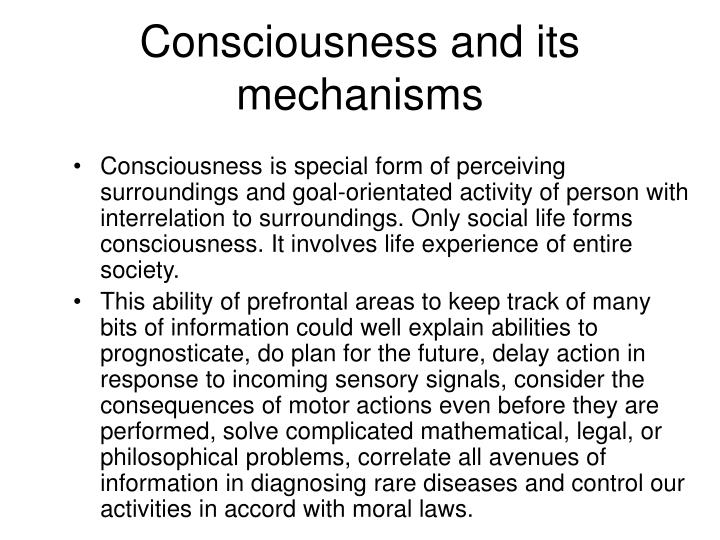 Consciousness and its mechanisms