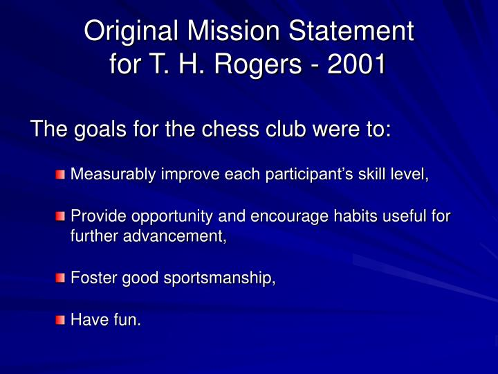 Original Mission Statement