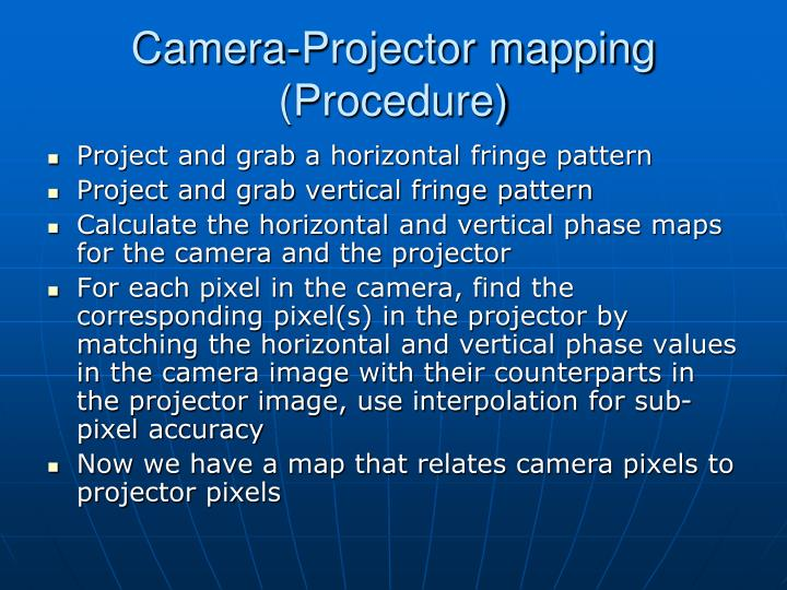 Camera-Projector mapping (Procedure)
