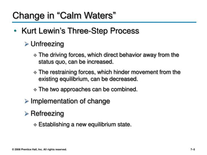 "Change in ""Calm Waters"""