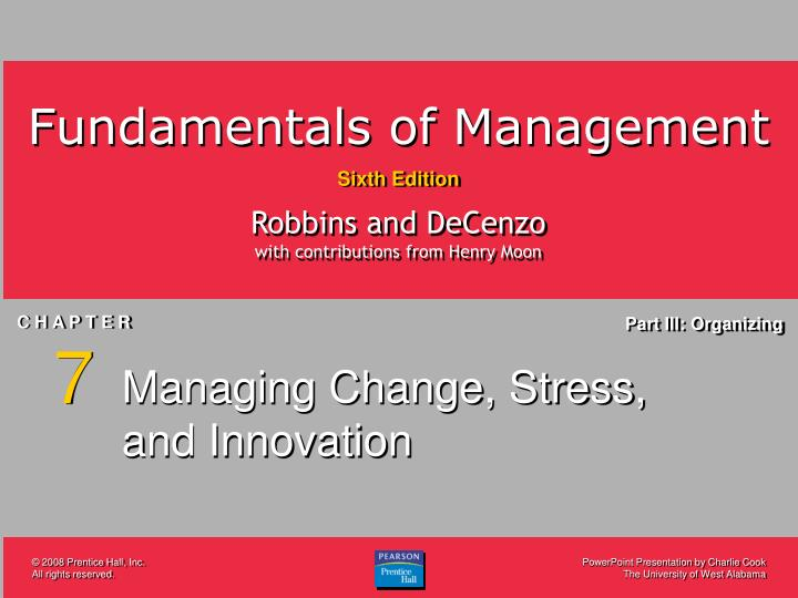 Managing change stress and innovation