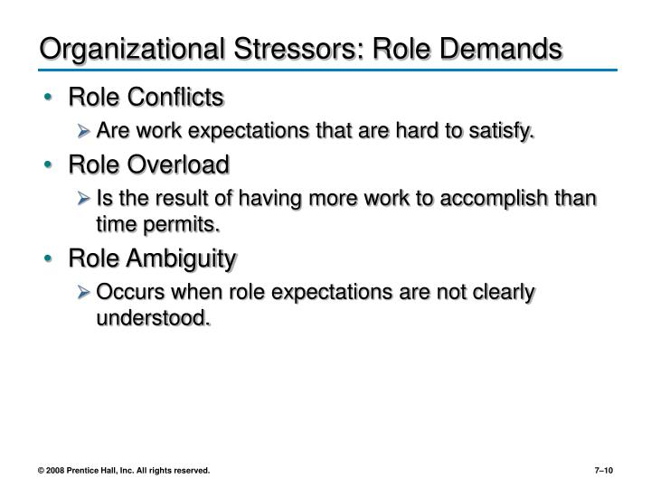 Organizational Stressors: Role Demands