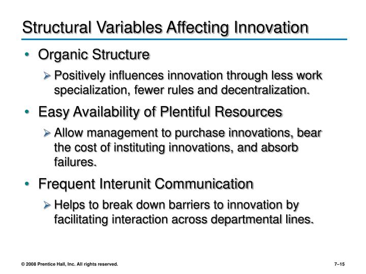 Structural Variables Affecting Innovation
