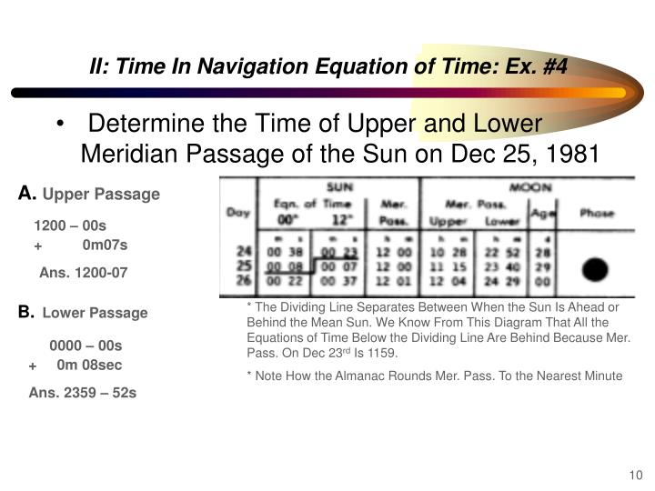 II: Time In Navigation Equation of Time: Ex. #4