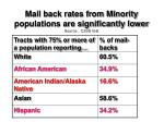 mail back rates from minority populations are significantly lower source c2ss test