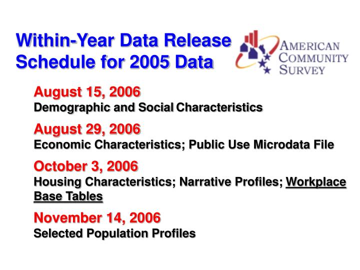 Within-Year Data Release Schedule for 2005 Data