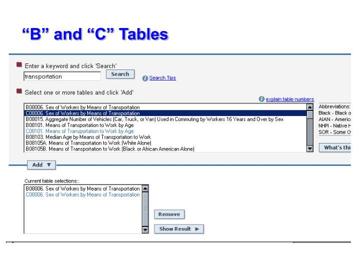 """B"" and ""C"" Tables"