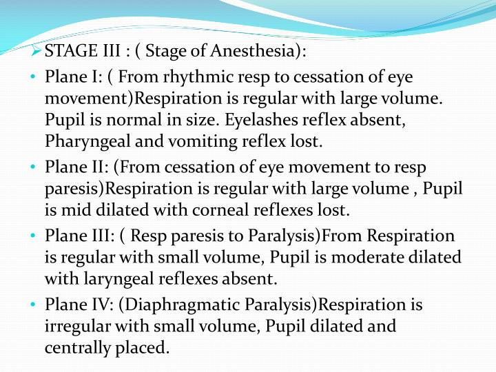 STAGE III : ( Stage of Anesthesia):