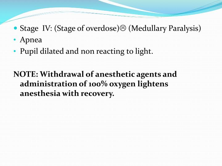 Stage  IV: (Stage of overdose)