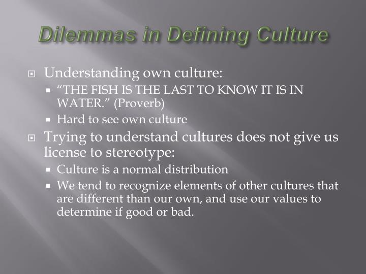 Dilemmas in Defining Culture
