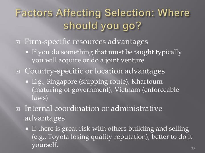 Factors Affecting Selection: Where should you go?