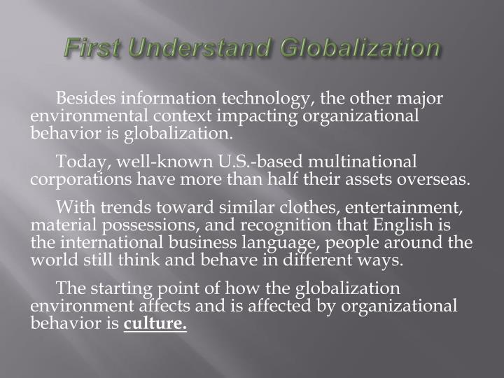 First Understand Globalization