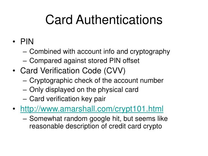 Card Authentications