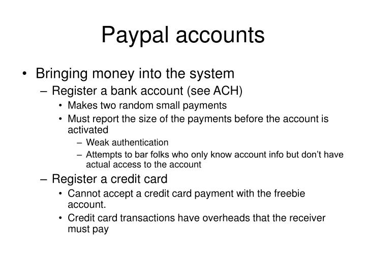 Paypal accounts