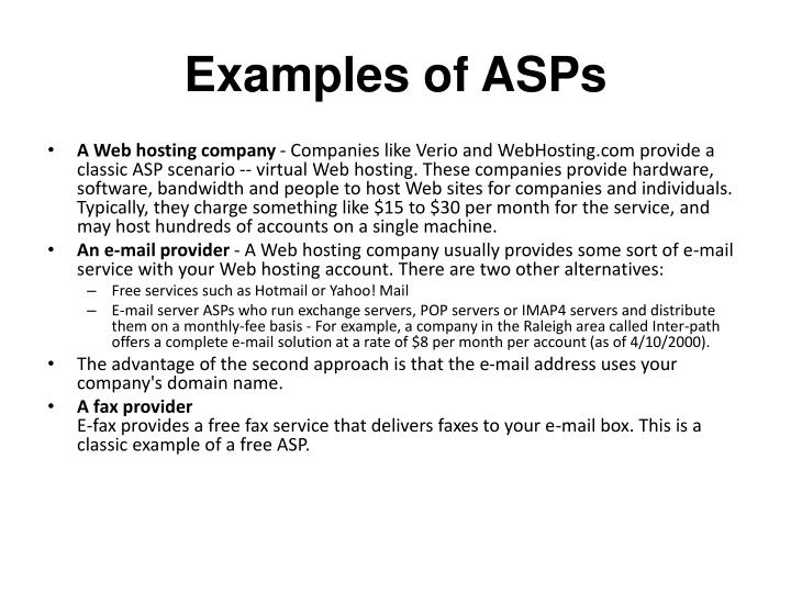 Examples of ASPs