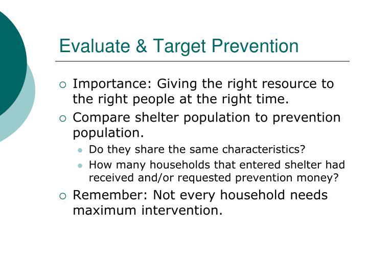 Evaluate & Target Prevention