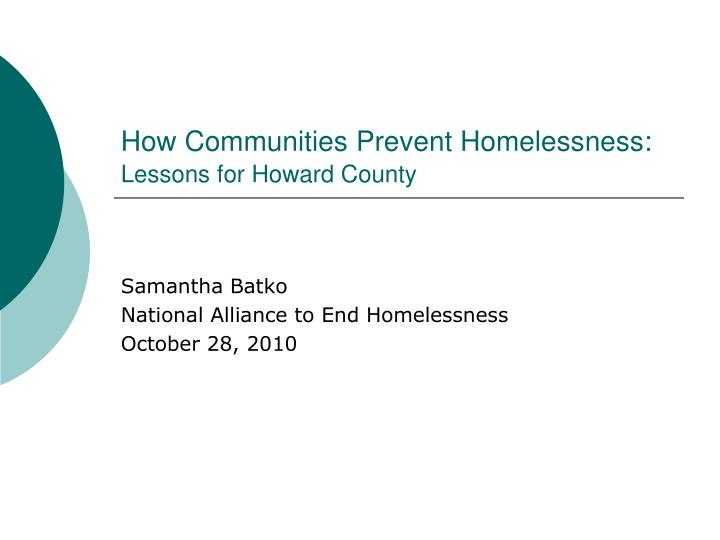 How communities prevent homelessness lessons for howard county