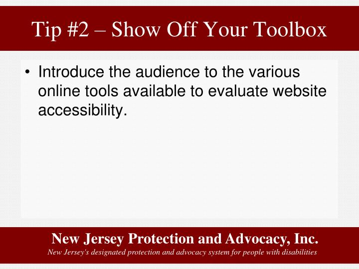 Tip #2 – Show Off Your Toolbox