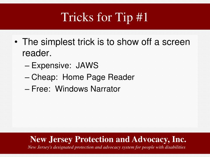 Tricks for Tip #1